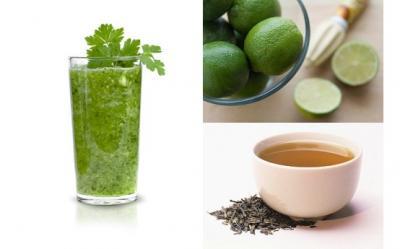 Smoothie cu ceai verde, lamai si menta