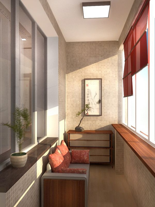 Amenajare balcon pe fundal de cirec cu o canapea si un dulap