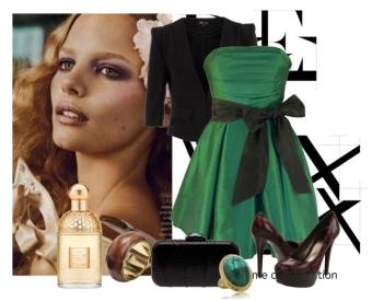Rochie de seara pe nuanta de verde combinata cu negru